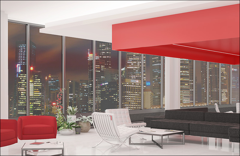 Cove ceiling render lounge