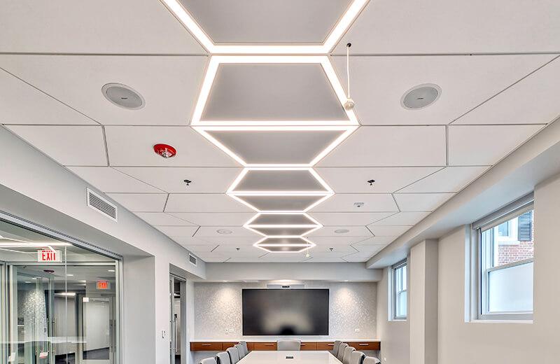 Geometric Photo Recessed White Training Center Illinois 29 The Interior Design Group Larson Engineering CO