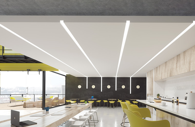 Zen Square Recessed Exposed Profile Render Application Corp Lounge