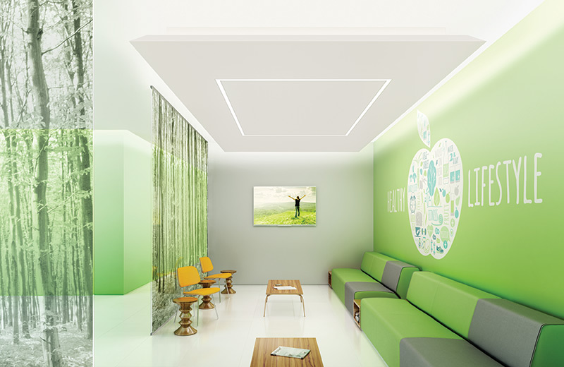 Cove ceiling render corporate healthcare