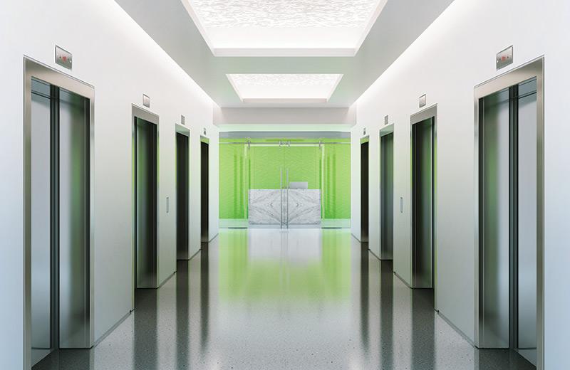 Cove ceiling render elevator hallway