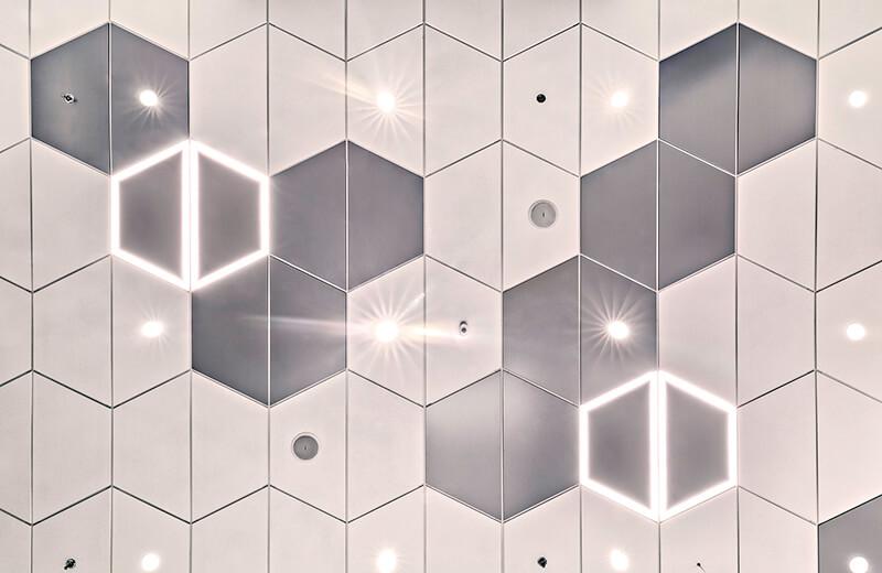 Geometric Photo Recessed White Training Center Illinois 11 The Interior Design Group Larson Engineering CO